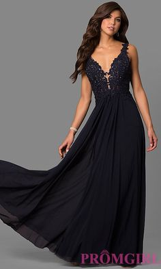 f90bc050c503 Lace-Applique V-Neck Faviana Prom Dress - PromGirl Wedding Jumpsuit,  Embellished Gown