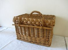 Vintage French Willow Picnic Storage Basket Home Decor
