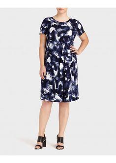Plus-Size Freehand Pleated Sheath Dress