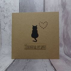 Unique cat sympathy card. Thinking of you card for the death of a pet cat.  This handmade with sympathy card for the loss of a cat uses recycled Kraft card and has a cat silhouette with gems in the shape of a heart. The colour of the shadow of the cat and the gems can be selected from the drop-down menu. The sentiment on this cat condolences card is added with 3D foam and reads: Thinking of you  PERSONALISING YOUR CARD: You can choose the colour of the matching shadow and gems used to make… Cricut Cards, Stampin Up Cards, Condolences Card, Pet Sympathy Cards, Unique Cats, Animal Silhouette, Hand Logo, Dog Cards, Rug Ideas