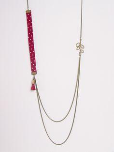 Sautoir liberty double chaîne rouge bordeaux à pois : Collier par les-bijoux-de-circe