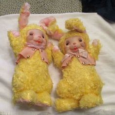 Pair Of Vintage Musical Knickerbocker Plush Bunnies With Rubber Faces