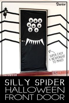Spider Halloween Door Decoration - A super easy way to decorate your front door!