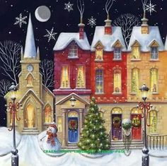 Christmas Wishes Cards Row Of Houses Artistic Scenic Gloss Finish (Pack Of Christmas Scenes, Christmas Love, Christmas Pictures, Christmas Wishes, Winter Christmas, All Things Christmas, Illustration Noel, Christmas Illustration, Illustrations