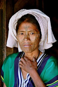 Asia | Portrait of a Chin woman of the Muun tribe with facial tattoos, Mindat, Myanmar | © Rudi Roels #tattoo