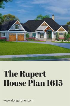 The Rupert house plan 1615 is now in progress! 2432 sq ft | 3 Beds | 2.5 Baths This one-story Craftsman design features a courtyard entry garage and is adorned with arched gable brackets, tapered columns, and stone. An open configuration promotes easy living inside with a cozy great room, island kitchen, spacious dining room, and a relaxing rear porch. In the master suite, find a luxury bathroom and a massive walk-in closet. #wedesigndreams #craftsmanhouseplan Cheap House Plans, Unique Small House Plans, Rustic House Plans, Craftsman Style House Plans, Cottage House Plans, Gable Brackets, Low Budget House, Courtyard Entry, One Story Homes