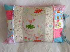Pillowcase: loving the embroidered panel surrounded by vintage patchwork!