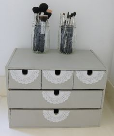 I want to do this its such a cute make up storage idea! Ikea makes unfinished wood drawers like that you can paint