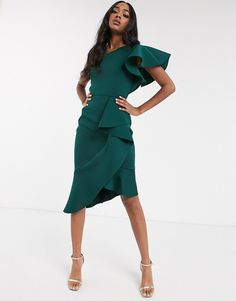 Order True Violet exclusive one shoulder asymmetrical midi dress in forest green online today at ASOS for fast delivery, multiple payment options and hassle-free returns (Ts&Cs apply). Get the latest trends with ASOS. Halter Neck Maxi Dress, Green Midi Dress, Pleated Midi Dress, Asos Dress, Peplum Dress, Maxi Dresses, Bridesmaid Dresses, Safari, Derby Outfits