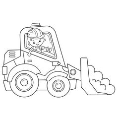 Jcb Tractor Coloring Pages Tractor Coloring Pages, Colouring Pages, Coloring Pages For Kids, Coloring Books, Construction For Kids, Baby Quilts, Outline, Tractors, Cartoon