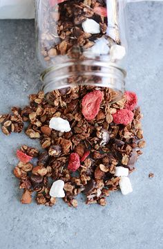 This makes an amazing dessert, in a bowl with milk. I omit the sugar, strawberries and yogurt bites. I use coconut oil. I add coconut chips with the chocolate chips, after baking. Chocolate chips = the darker the better. Chocolate Oatmeal Cookies, Chocolate Granola, Oatmeal Cookie Recipes, Baking Chocolate, Chocolate Chips, Freeze Dried Strawberries, Strawberries And Cream, Dried Fruit, Cherry Jelly Recipes