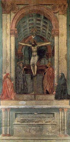 Masaccio (1401-1428) Trinité (1425-28). Première application de la perspective mathématique en peinture.