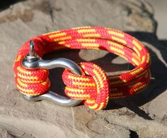 Red and Yellow Sailing Cord / Paracord Bracelet with a Nautical Shackle Clasp