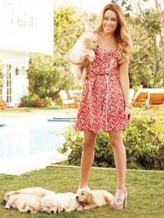 LOVE her dress  And look at those cute puppies <3