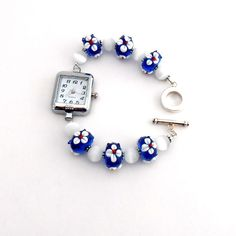 Red White Blue Floral Lampwork Beaded Watch Bracelet Patriotic Jewelry Chunky Bead. $29.00, via Etsy.
