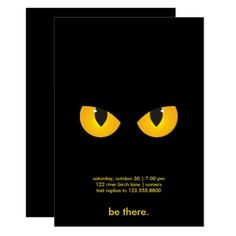 Spooky Yellow Eyes Halloween Invitation - cat cats kitten kitty pet love pussy