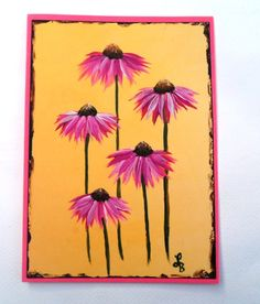 Coneflower Card Hand Painted Echinacea Card by LisasPaintedCrafts