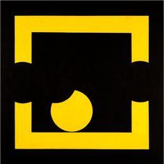 Joël Stein - 3 cercles noirs virtuels dans un carrè jaune, 2005, acrilico su tela, 100 x 100 cm