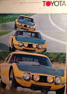 Cover of 1967 Toyota 2000 factory promotional brochure. Picture of prototypes being tested at Yatabe Test Track