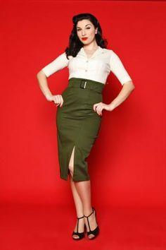 Olive Vogue Pencil Skirt