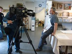 interview with iLia Anossov (fresco) for a TV pilot during a fresco painting workshop