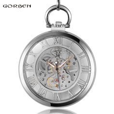 New Fashion Casual Luxury Silver Hollow Mechanical Hand Wind Mechanical Pocket Watch Men Watch FOB Chain Best Gift Necklace P417