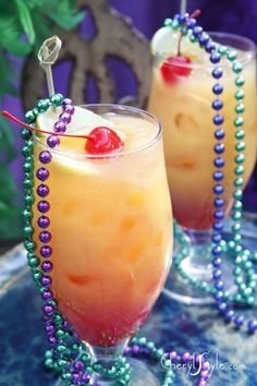 Employ your Mardi Gras beads to garnish your cocktail!