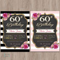 60th birthday invitations 60th birthday by DamabDigital on Etsy
