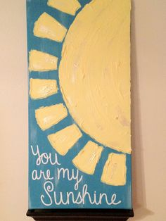 Sunshine painting... I gotta make something like this for my bedroom. Love the crazy long, skinny size of it!