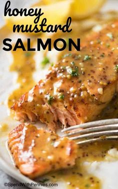 This Honey Mustard Salmon is a life saver for busy weeknights! Incredibly simple to make, it's quite amazing how so few ingredients can transform into something so tasty. This Honey Mustard Mustard Sauce For Salmon, Grilled Honey Mustard Chicken, Honey Salmon, Dijon Salmon, Honey Mustard Sauce, Salmon And Asparagus, Honey Mustard Recipes, Homemade Honey Mustard, Honey Recipes