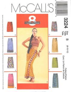 MCCALLS 3224 - FROM 2001 - UNCUT - MISSES WRAP SKIRT IN TWO LENGTHS