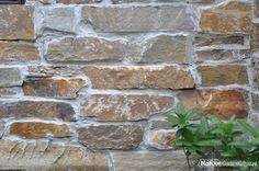 Steenstrips Rocks Oranje op de wand. Sfeervolle veranda en schuur. Stapstenen in het grasen Flagstones op het terras.