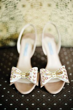 Adorable wedding shoes with bejewelled bows.