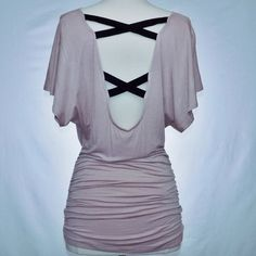 Soft Pink Ruched Top with Accented Back 95% viscose, 5% spandex. Hand wash/dry clean. Tops Blouses