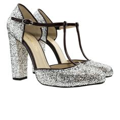 Glitter Pumps T-Bar Custom&Chic