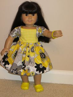 Cheerful yellow and grey sundress and shrug by DollClothesbyTrudy, $11.99