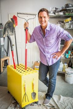 Old File Cabinet Garage Tool Storage DIY - Home & Family- Love this idea. We use a garbage can but it is hard to see what tool it is and they get stuck on one another....love this.