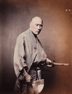 Color version of the most popular image of the real samurai, ca. 1866 by Felice Beato