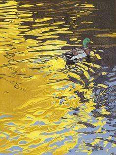 Ripples (mallard) - linocut by Sherrie York Fine Art, Water Art, Linocut, Nature Art, Painting, Illustration Art, Art, Linocut Art, Etsy Art Prints