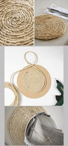 DIY: Sousplat made with jute yarn Rope Crafts, Diy Home Crafts, Diy Home Decor, Arts And Crafts, Diy Para A Casa, Sisal, Burlap, Craft Projects, Decoration