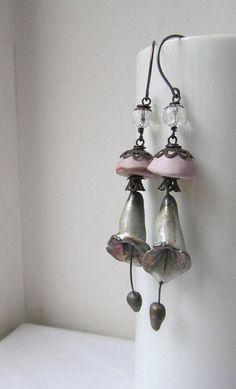 Calling For Her Mind Again - rustic lily earrings w/ artisan ceramics; Beaded Top, Schmuck Design, Ceramic Beads, Bead Caps, Flower Earrings, Decorative Bells, Wearable Art, Precious Metals, Earrings Handmade