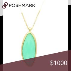 """Mint Teardrop Necklace 14K gold plated metal base with resin. 30"""" chain pendant is 2"""" lobster claw clasp Olivia Welles Jewelry Necklaces"""