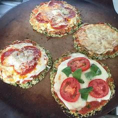 Zucchini and flax meal-crusted mini pizzas. Can you tell which one is mine?  #realfood #kidapproved #grainfree #LCHF #lowcarb by ssbischoff