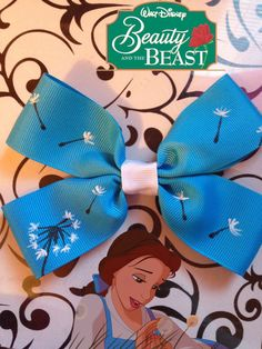 Belle-Disney's Beauty and the Beast Inspired Hand Painted Bow