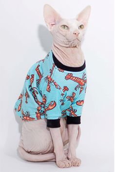 Sphynx Cat Clothes Rock Lobster Print long от SphynxCatClothes