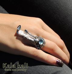 Genuine Aquamarine Crystal and 3 Deep Blue Faceted by KalaKali, €210.00