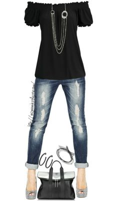 Cute top with distressed jeans cuffed. Long necklace