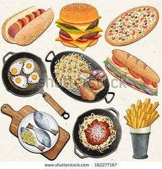Set of food icons vector image on VectorStock Food Art, A Food, Food And Drink, Pizza Vector, Cake Vector, Food Clipart, Huevos Fritos, Food Sketch, Watercolor Food