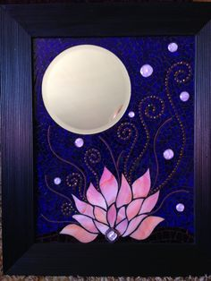 Flor de loto arte mosaico Mosaic Tile Art, Beautiful Nail Polish, Mandala Design, Design Art, Glass Art, Tapestry, Namaste, Frame, Projects