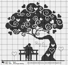 46 Ideas for crochet heart filet perler beads Cross Stitch Tree, Cross Stitch Heart, Cross Stitch Flowers, Wedding Cross Stitch Patterns, Cross Stitch Designs, Cross Stitching, Cross Stitch Embroidery, Embroidery Patterns, Hand Embroidery